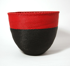 Red & black telephone wire bowl