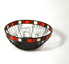 Wrought iron bowl, impala with glass