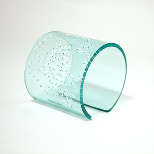 Cuff Stitched, clear aqua 60 mm