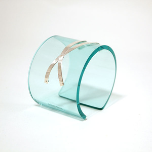 Cuff silver strips, clear aqua 50 mm