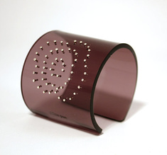 Cuff, Flower, silver dots bronze, 60 mm