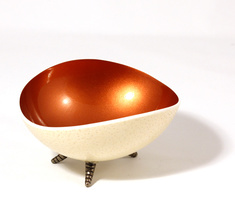 Oval copper coloured ostrich bowl Havana