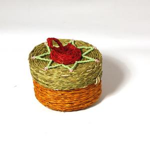 Smyckesskrin litet, orange & natur