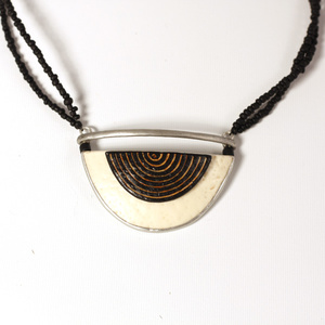 Layered Half moon, ostrich egg necklace