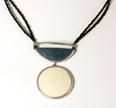 Half moon Blonde, ostrich egg necklace