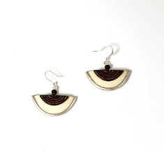 Half Moon, ostrich egg Earring