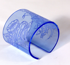 Cuff, Morris Flower, Blue, 60 mm
