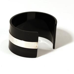 Cuff for men silver strip, black 40 mm