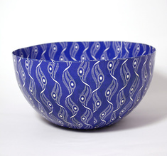 Big Shweshwe blue bowl