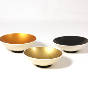 Set of round spice bowl, black, gold and copper