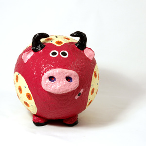 Moneybox large Cow Red