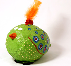 Moneybox large Crazy Bird green