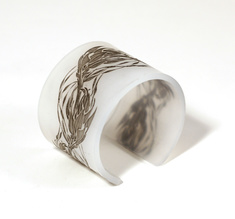 Cuff Flame, pale white with black flames 50 mm
