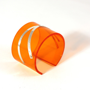 Cuff silver strips, clear orange 50 mm