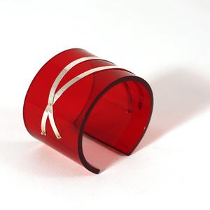 Cuff silver strips, clear dark red 50 mm