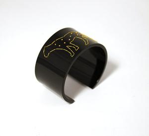 Armband Stitched, svart Leopard 40 mm
