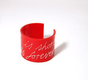 "Cuff Stitched, red ""Life is short love is forever"", 50 mm"