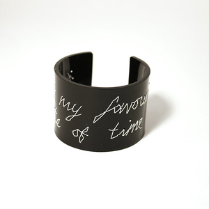 "Cuff Stitched, black ""you're my favourite waste of time"" 50 mm"