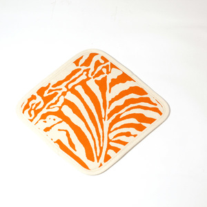 Botanical Zebra Pot holder, Persimon