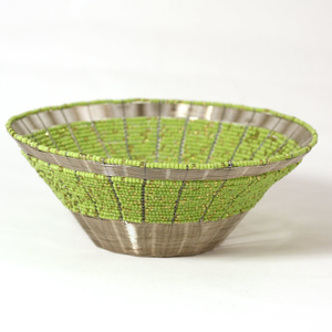 Woven wire bowl, Lime