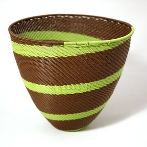 Lime & brown telephone wire bowl