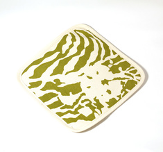 Botanical Zebra Pot holder, Wasabi green