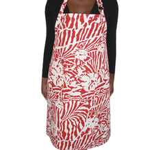 Botanical Zebra Apron, Laquor red