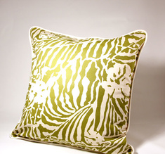 Botanical Zebra Cushion cover, Wasabi green