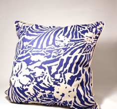 Botanical Zebra Cushion cover, Pacific blue