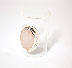 Cuff opaque with pink stone, 80 mm