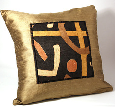 Golden silk pillow cover