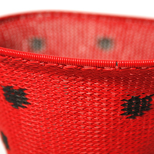 Red telephone wire bowl with black spots
