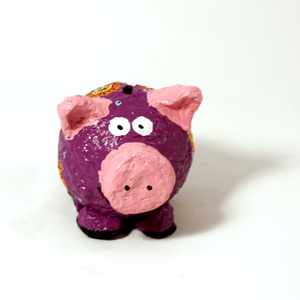 Moneybox smal pig purple